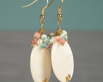 Pearl Earrings, Fildisi, Gold Fill Earrings, Freshwater Pearls, Rice Shaped, White Color, 14K, June birthstone, Bridal Jewelry