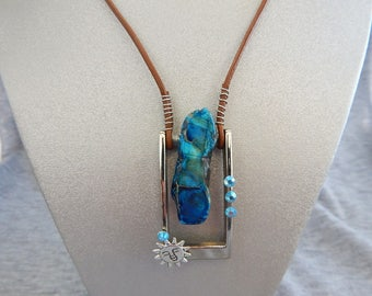 Blue sky stone and sun kissed buckle pendant necklace