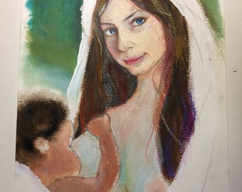 Oil on paper canson.- Young mother
