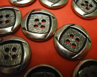 10 metal buttons 4 holes silver    3/4 or 19 mm free shipping in the u s a