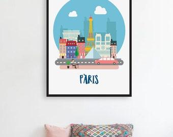 Paris Print, PRINTABLE Nursery Art, Cityscape, Paris City Print, Paris Poster, Nursery Wall Decor, Paris Skyline, Paris Decor Paris Wall Art