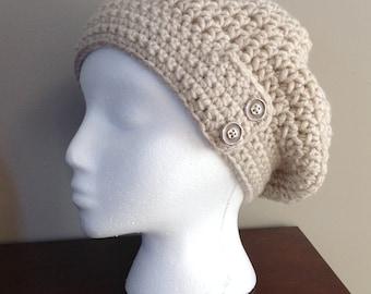 Beige slouchy crocheted hat