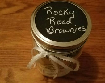 Rocky Road Brownies Mix Quart Mason Jar Gift