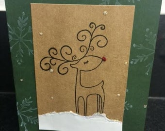 Swirling Reindeer Homemade Christmas Card