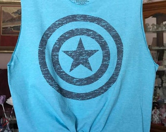 Captain America Tie Front Crop Top [Marvel's Avengers Captain America Shield] (Size: Small)