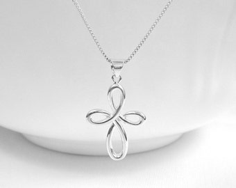 Infinity Cross Necklace, Sterling Silver Cross Necklace, Gift for Mom, Gift for Wife, Christmas Gift, Christmas Necklace, Baptism Gift