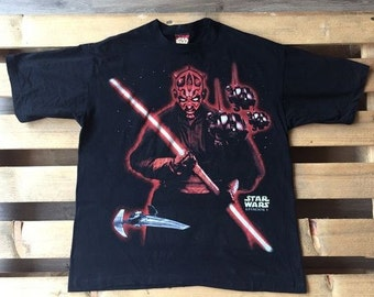 1990s Vintage Star Wars t-shirt, episode I, The Phantom Menace, black, 90s, 1990s, black, sith, jedi, lord, darth, glitter, lightsaber