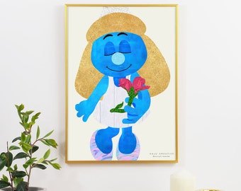 Smurfette with a Flower Graphic Print