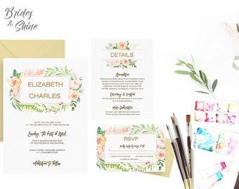 Printable Wedding Invitation Suite/ Wedding Invite Set- BLOSSOM PORTAL, rustic watercolor floral  wedding invitations