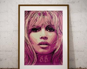 Pink Brigitte Bardot, Brigitte Bardot print, Brigitte Bardot drawing, Brigitte Bardot sketch, Brigitte Bardot poster, cinema drawings