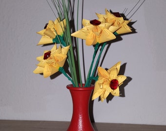 Origami flowers with vase