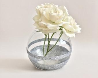 Silver Vase - Silver Home Decor - Office decor - Glitter Vase - Wedding Decor - Votive Candle Holder - Mothers Day Gift - Housewarming Gift