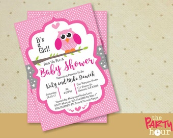 Personalized Baby Shower Invitation owl girl - It's a Girl Baby Shower Invitation - Printable Baby Shower Invitation Girl. Owl Baby Shower