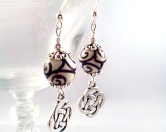 "Earrings stainless steel silver hand made bead ""Danann"""