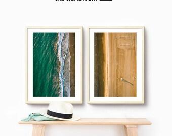 Framed 2-Piece Set, Aerial Beach Photography, Large Wall Art Decor, Fine Art Photography, Art Prints, USA California Home Decor Beach