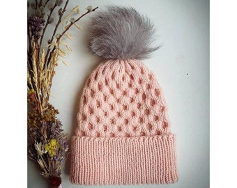Womans Knit Hat, Blush Pink Winter Hat, Fur PomPom Beanie Hat for Women, Cuffed Hat, Hand Knit Hat