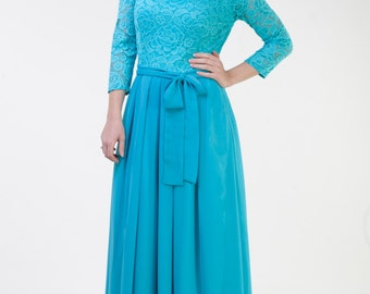 Long turquoise lace dress Turquoise bridesmaid dress Long bridesmaid dress long sleeves Long prom dress Turquoise dress women