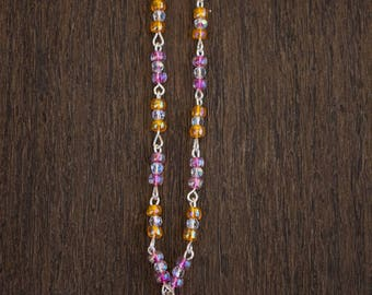 Orange and Pink Mermaid Necklace