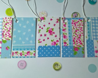 patchwork design , fabric covered gift tags x5