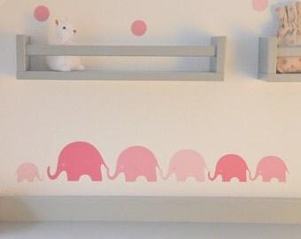 Elephant wall decal nursery,Elephant wall stickers,Pink elephant wall decals, Fabric wall sticker, Wall sticker elephant, Wall sticker girls