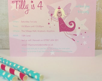 Pack of 16 Fairy Princess Personalised Party Invites or Thank You Cards