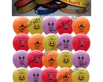 27 Piece FNaF Combo Pack ~20 Balloons & 7 Bracelets~ Five Nights at Freddy's Kids Themed Birthday Party Favors, Decorations, Freddys Game
