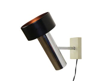 Modern Black and Chrome design wall lamp, 1970s