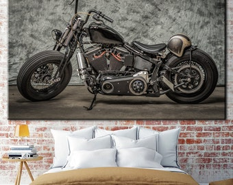 Harley Davidson, Motorcycle, cold background, Harley, legendary motorcycle, harley art, harley canvas, picture Office, biker gift
