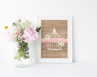 Birdcage Name Print, Wood Look, Daisy Print, Nursery Print, Rustic Print, Personalized, 8 x 10 or 11 x 14 Art Print, Matte Fine Art Paper
