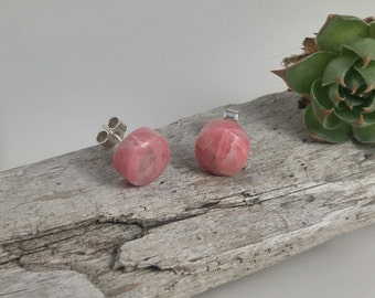hand carved Rhodonite recycled sterling silver earrings, handmade Rhodonite studs, 925 recycled sterling silver studs, Rhodonite earrings