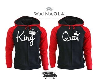 King Queen Hoodie Set King Queen Raglan Hoodies Couple Matching Hoodies Pärchen Shirts King Hoodie Raglan Hoodie Queen Hoodie Couple Hoodie