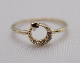 Crescent Moon Star Ring
