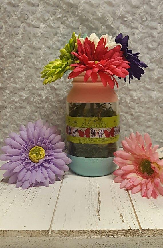 Spring Themed Mason Jar Vase ** Floral Arrangement Included **