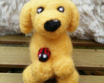 Needle felt dog, dog ornament, pet ornament, needle felt labrador, needle felt golden retriever, ladybird, custom made dog, puppy decoration