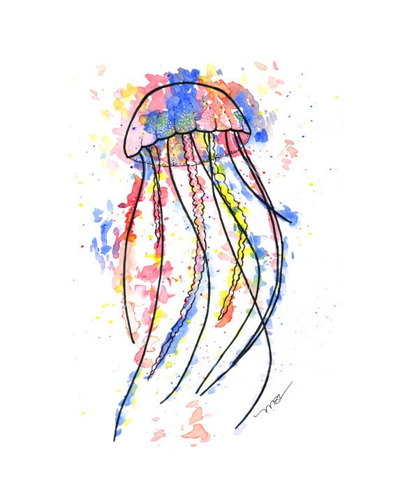 Jellyfish Watercolor Print - Jellyfish Watercolor Art - Pink Blue Yellow Red Jellyfish Modern Abstract Print Decor
