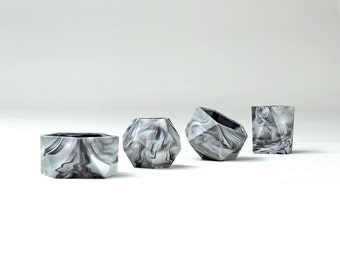 Marbled Geometric Pot