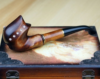Tobacco pipe - Wooden pipe -Briar pipe -Limited Edition - Tobacciana pipe - Exclusive Wood Pipes - Smoking Pipe- Wood carved smoking pipe