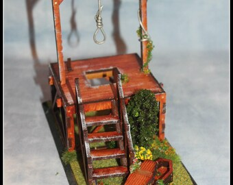 Miniature Gallows Model Diorama Macabre Miniatures Collection Wild West unusual gift