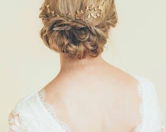 Bridal Hair Vine, Gold Leaf Hair Vine, Leaf Wreath, Gold Headband, Gold hair vine, Bride Hair Accessories, Leaf hair vine