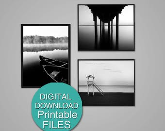 Black and White Beach Photography Download Set of 3 Prints Nautical Wall Decor Dock Photograph 8x10 / 5x7 / A4