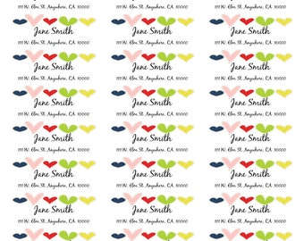Multicolored Heart Address Labels-Valentines Address Labels-Year Round Address Labels-Personalized Shipping Labels-Customized Stickers