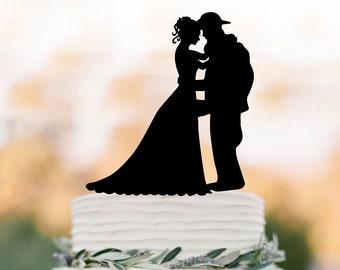 fireman groom and bride silhouette Wedding Cake toppers, funny wedding cake topper fireman job