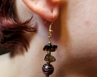 Smoky Quartz and Gold Earrings