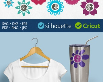 Flower Monogram Svg Daisy initial frame for Cricut Flower Frame Svg Camomile cut files download Silhouete dxf files Flower vinyl design