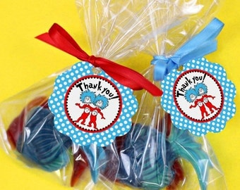 Dr. Seuss Twin 1 & 2 Favor Tag Thank You Sticker Baby Shower Party Printable - Party Designs Co