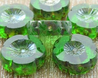 Czech Glass Table Cut Picasso Flower Beads Green 14mm, Czech Glass Flowers Beads, Czech Picasso Beads, Green Beads, Czech Beads, Flower Bead