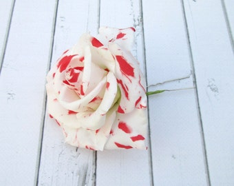 Marble Rose Hair Pin - Red White Rose Hair Accessories - Flowers Hairpin  - Bride Hair Decoration Wedding Real Flower - Bridal Accessories