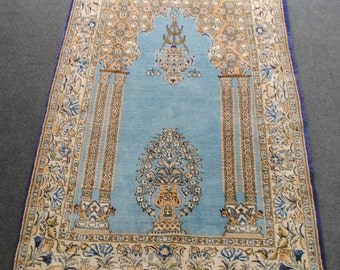 Authentic Persian rug blue sky background size 153x110cm