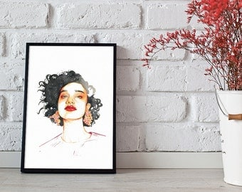 fashion illustration, glam model, wall art - 3 sizes available Giclee print