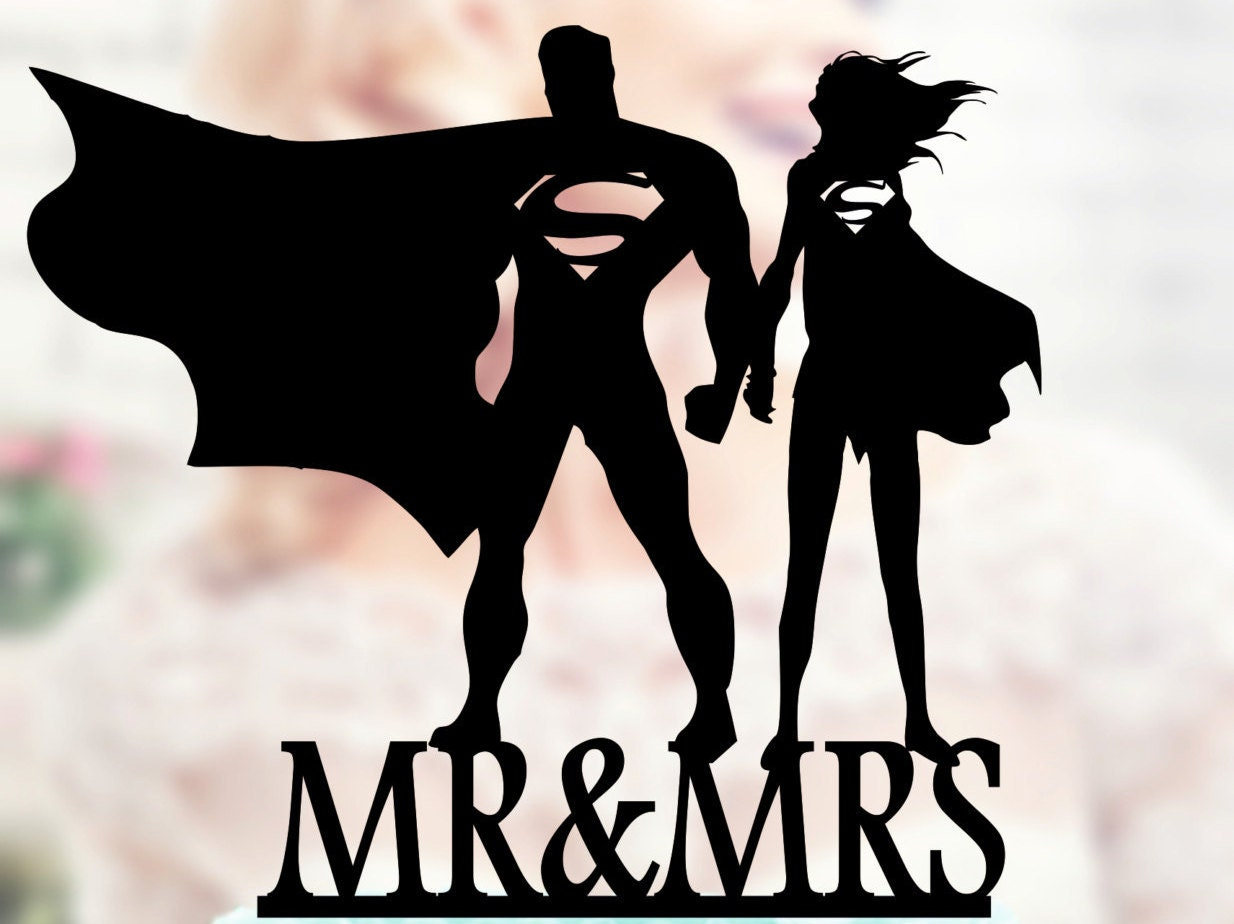 Superman and Supergirl Silhouette Cake Toppers superheroes